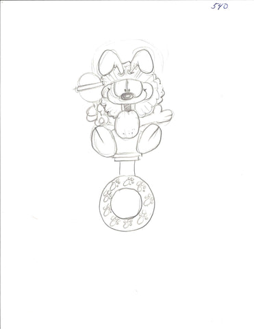 Sketch of Garfield baby rattle