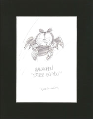 "Sketch of Garfield Halloween ""Stuck on You"""