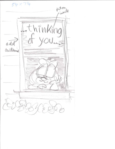 "Sketch of Garfield ""Thinking of You"""