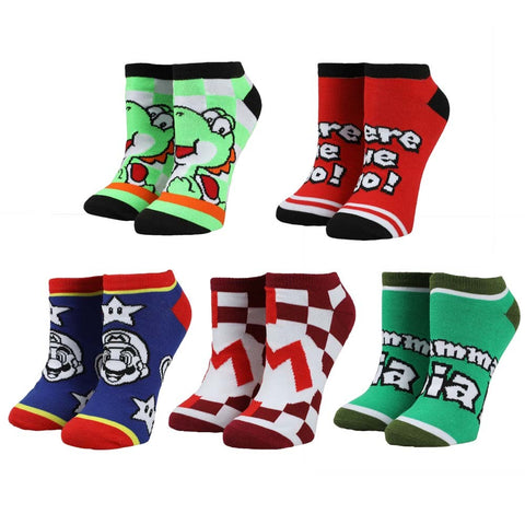 Super Mario Ankle Socks - 5 Pack