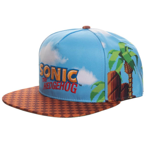 Sonic Allover Print With Embroidery Snapback Hat