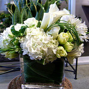 Modern White and Green Arrangement