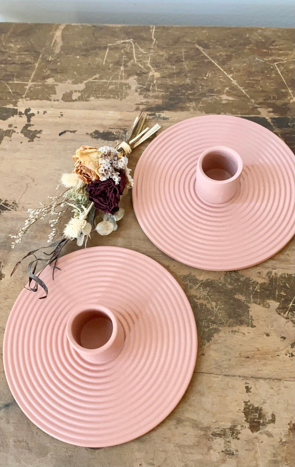 Modern blush ceramic candle holder
