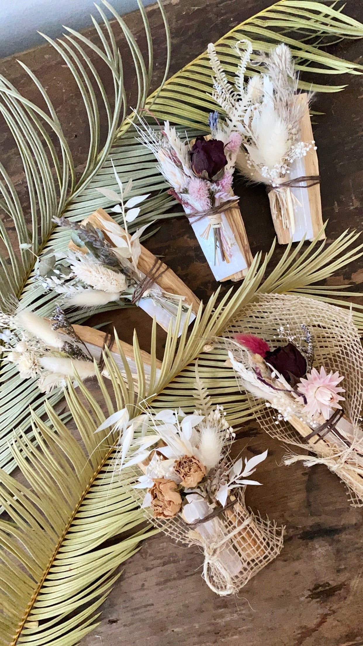 Palo Santo with selenite + dried flowers