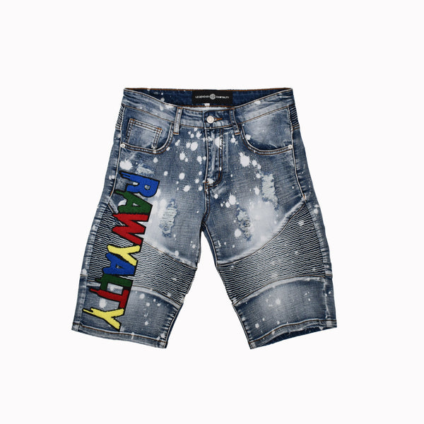 Rawyalty Denim Shorts RJS-7-WH - Georgios Clothing Store