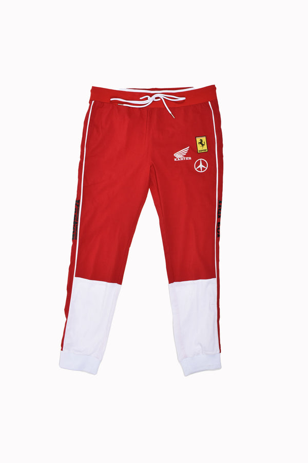 Karter Collection Racer Sweatpants KRTRH118-11-WH - Georgios Clothing Store