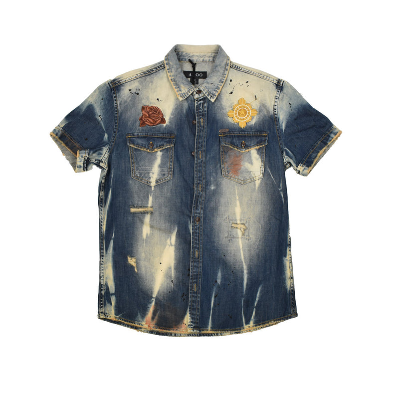 Akoo Denim Button Down Shirt 781-6600-WH - Georgios Clothing Store