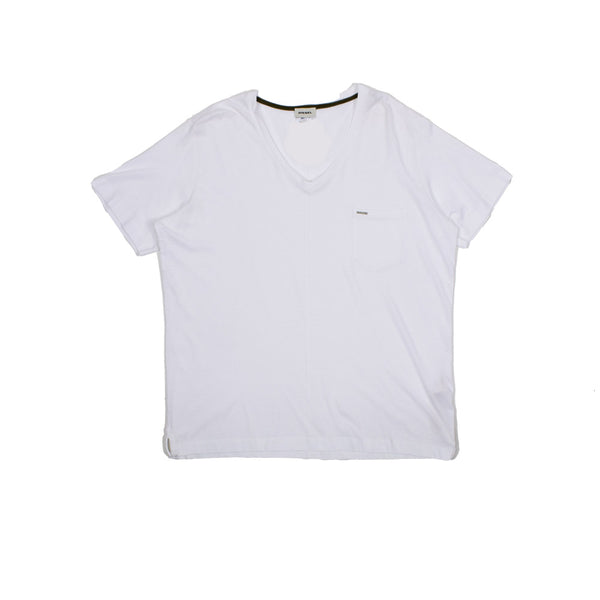Diesel T-Saturano V-Neck Pocket T-Shirt 00SN1HONAK-WH - Georgios Clothing Store