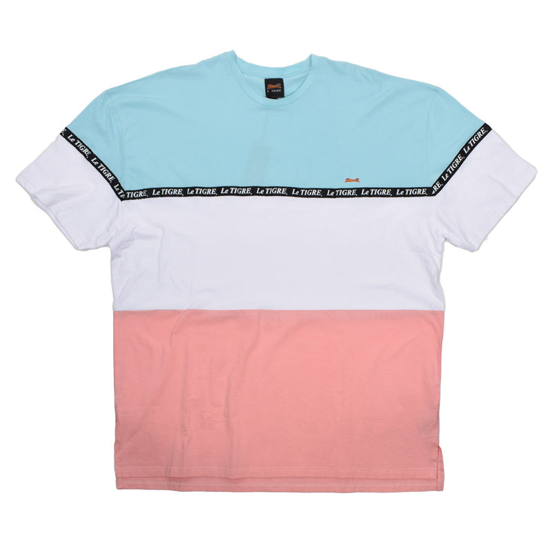 LeTIGRE Colorblock Cotton T-Shirt LT-46-RS-WH - Georgios Clothing Store
