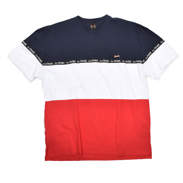 LeTIGRE Colorblock Cotton T-Shirt LT-43-N-WH - Georgios Clothing Store