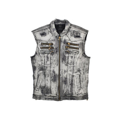 Rockstar Distressed Denim Vest RSM325TBV-WH - Georgios Clothing Store