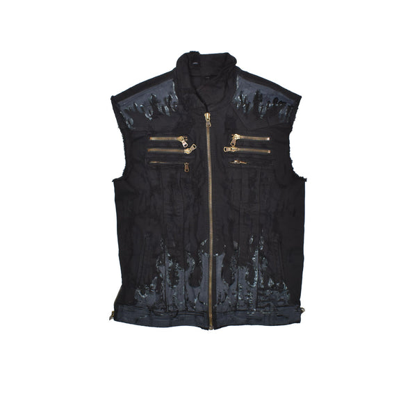 Rockstar Distressed Denim Vest RSM309BLL-WH - Georgios Clothing Store