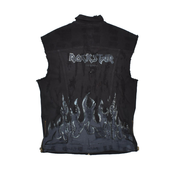 Rockstar Distressed Denim Vest RSM309BLL-WH