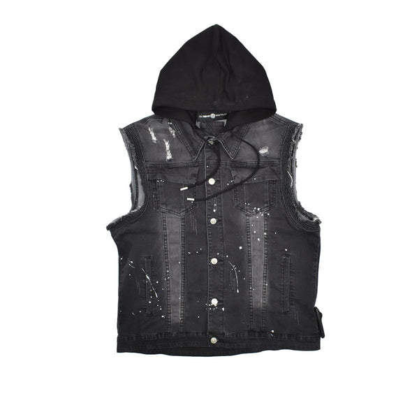 Rawyalty Hooded Denim Vest RJV-7-WH - Georgios Clothing Store