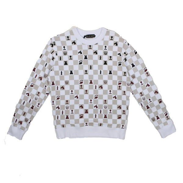 A Bush of Ghosts White Checkered Crew neck Sweatshirt FE07