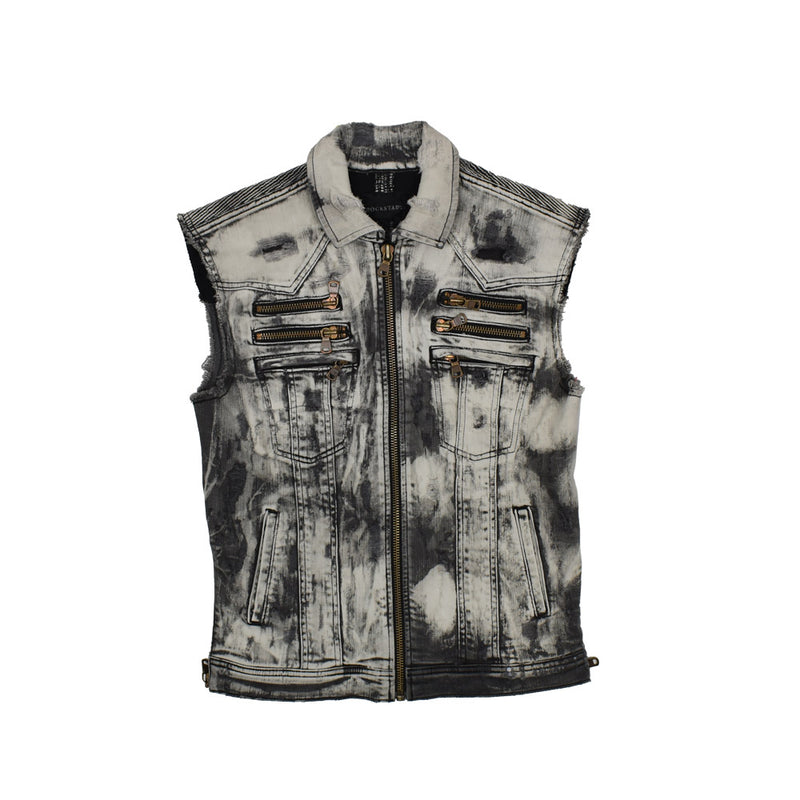 Rockstar Acid Wash Distressed Denim Vest RSM325TBV  -WH - Georgios Clothing Store