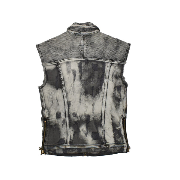Rockstar Acid Wash Distressed Denim Vest RSM325TBV  -WH
