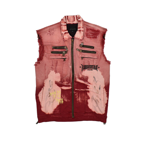 Rockstar Acid Wash Distressed Denim Vest RSM309BLL-WH
