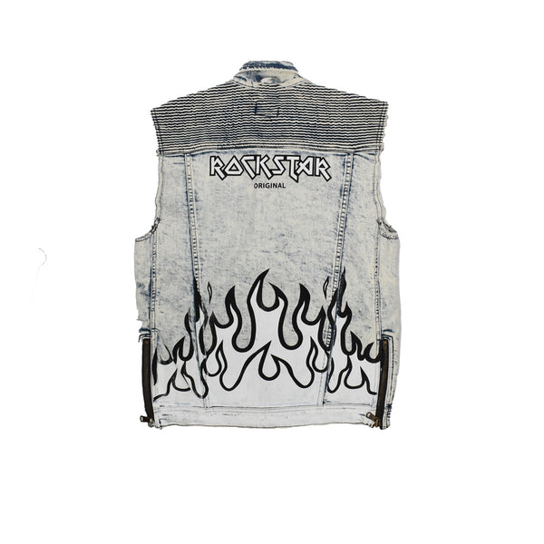 Rockstar Acid Wash Denim Vest RSM309ORT-WH - Georgios Clothing Store