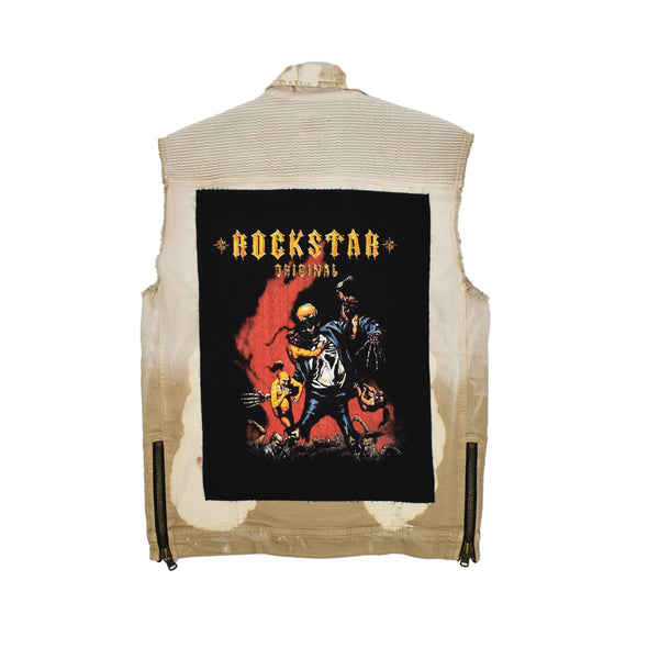 Rockstar Acid Wash Distressed Denim Vest RSM309BLL-WH - Georgios Clothing Store