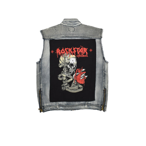 Rockstar Acid Wash Distressed Denim Vest RSM309ORT-WH