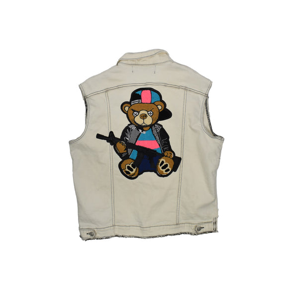 Rawyalty Denim Vest RJV-7 -WH - Georgios Clothing Store
