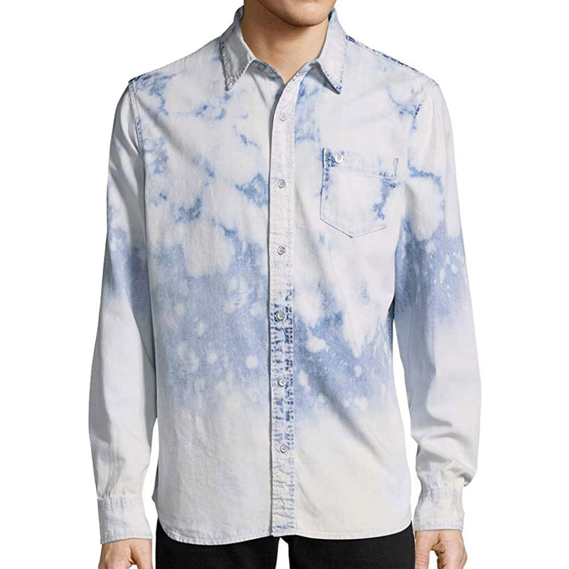 True Religion Bleached Denim Long Sleeve Button Down Shirt MSGAA8BD7-WH
