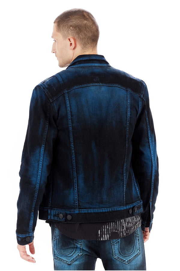 True Religion Dylan Renagade Mens Denim Jacket MDQC51940F -WH