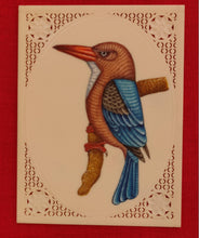 Load image into Gallery viewer, KingFisher Bird Birds Miniature Painting India Art Synthetic Ivory - ArtUdaipur