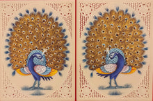 Load image into Gallery viewer, Hand Painted Peacock Pair Bird Birds Miniature Painting India Art - ArtUdaipur