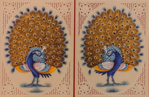 Hand Painted Peacock Pair Bird Birds Miniature Painting India Art - ArtUdaipur