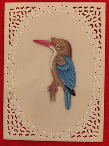 Baby KingFisher on Synthetic Ivory Art Collection - ArtUdaipur