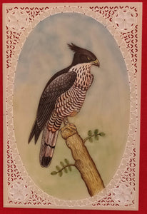 Beautiful Eagle Bird on Synthetic Ivory Hand Painted Painting Art - ArtUdaipur