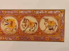 Load image into Gallery viewer, Hand Painted Procession Animal Miniature Painting India Art Nature on Silk - ArtUdaipur
