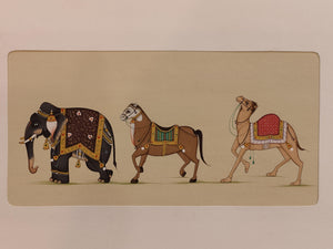Hand Painted Elephant Horse Camel Procession Miniature Painting India Art Paper - ArtUdaipur