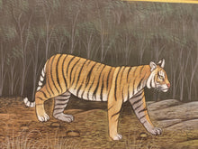 Load image into Gallery viewer, Hand Painted Tiger Animal Miniature Painting India Art Nature Paper WildLife - ArtUdaipur