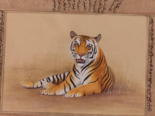 Load image into Gallery viewer, Hand Painted Tiger Animal Miniature Painting India Art Nature on Old Paper - ArtUdaipur