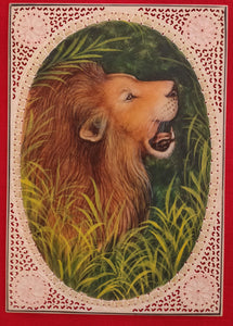 Hand Painted Lion Animal Miniature Painting India Art on Synthetic Ivory Faux - ArtUdaipur