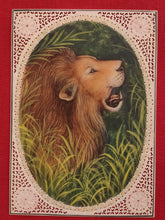 Load image into Gallery viewer, Hand Painted Lion Animal Miniature Painting India Art on Synthetic Ivory Faux - ArtUdaipur