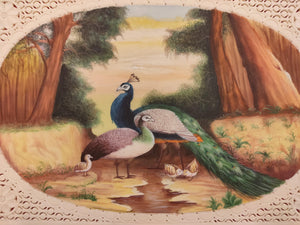 Hand Painted Peacock Bird Animal Miniature Painting India Art Wild - ArtUdaipur