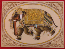 Load image into Gallery viewer, HandPainted Elephant Carved Carving Miniature Painting Art Synthetic Faux Ivory - ArtUdaipur