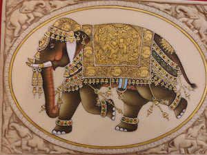 HandPainted Elephant Carved Carving Miniature Painting Art Synthetic Faux Ivory - ArtUdaipur
