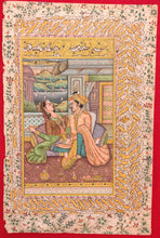 Load image into Gallery viewer, Hand Painted Mughal Maharajah King Romance Miniature Painting India Art Paper - ArtUdaipur