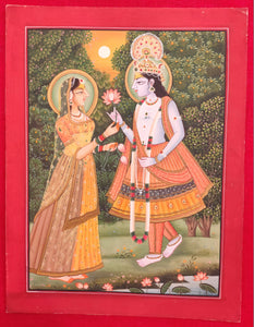Hand Painted Krishna Radha God Painting India Artwork Paper Hindu Goddess - ArtUdaipur