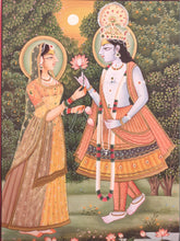 Load image into Gallery viewer, Hand Painted Krishna Radha God Painting India Artwork Paper Hindu Goddess - ArtUdaipur
