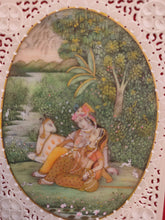 Load image into Gallery viewer, Buy Original Krishna Radha With Cow Romantic Indian Miniature Painting - ArtUdaipur