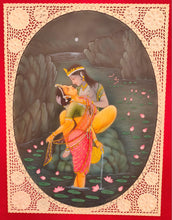 Load image into Gallery viewer, Hand Painted Krishna Radha Love Scene Miniature Painting India Artwork - ArtUdaipur