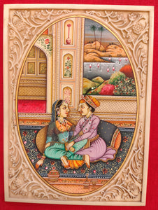 Hand Painted Mughal Love Scene Miniature Painting India Artwork Synthetic Ivory - ArtUdaipur