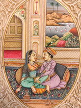 Load image into Gallery viewer, Mughal Maharajah Romance Miniature Painting Artwork
