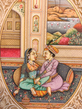 Load image into Gallery viewer, Hand Painted Mughal Love Scene Miniature Painting India Artwork Synthetic Ivory - ArtUdaipur